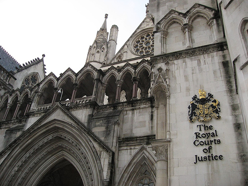 Close up of the Royal Courts of Justice