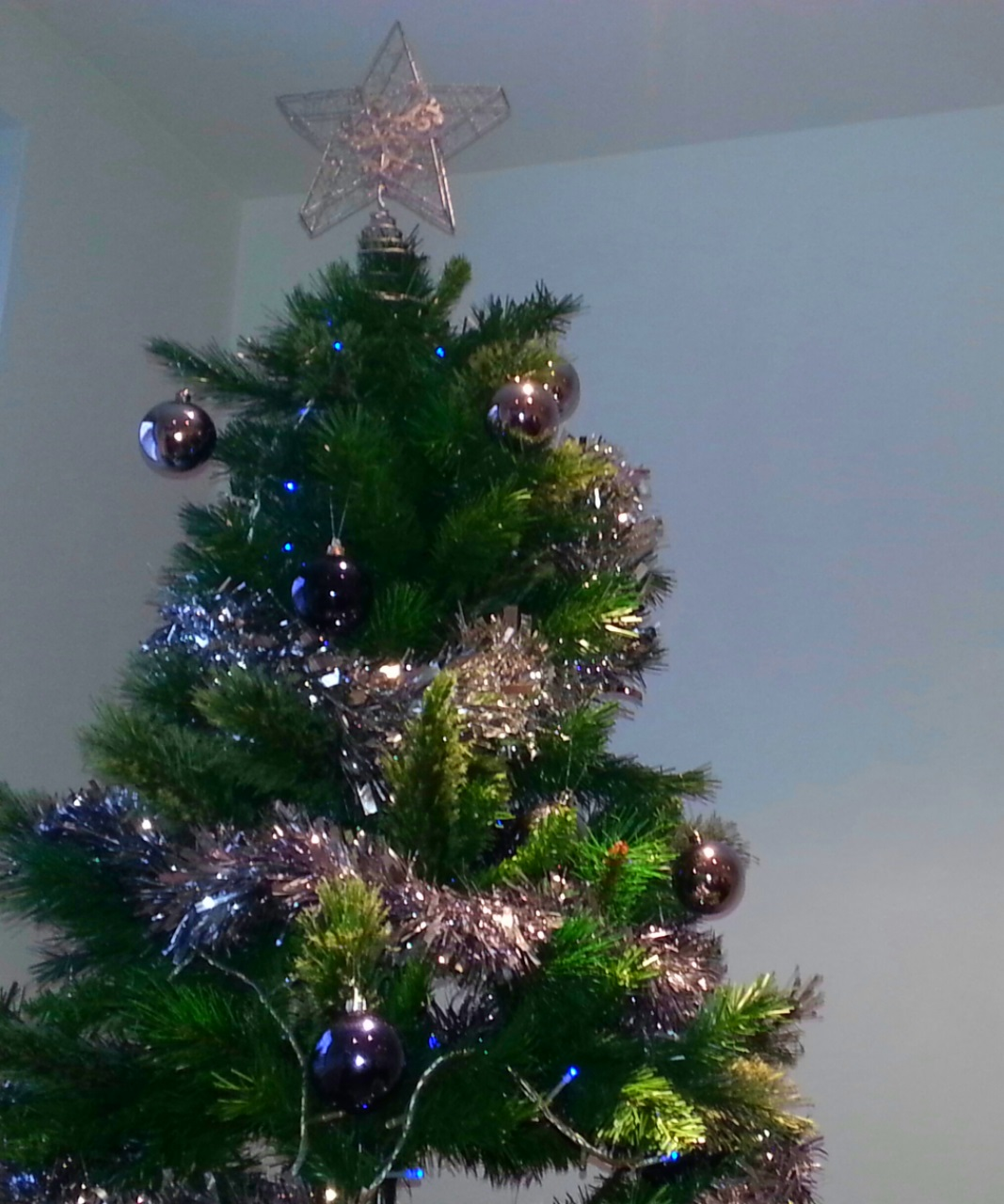 A decorated Christmas tree, topped with a star
