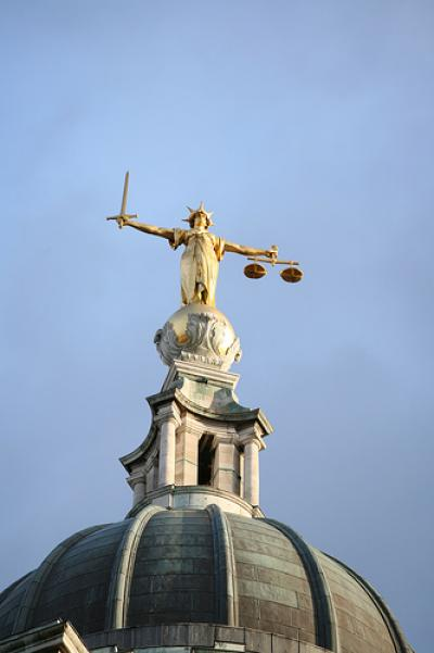Lady Justice statue at the Old Bailey, London
